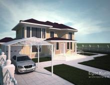 Загородный дом спроектирован в классическом стиле
