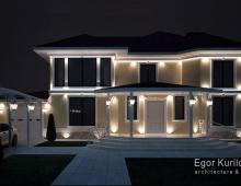 Ночная подсветка дома выполняет не только свое главное предназначение, она так же преображает вид фасада