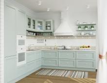 Цветовое решение кухни, как и квартиры в целом - легкие воздушные светлые тона с  дополнением в виде небесно-бирюзового цвета