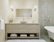 Интерьер ванной комнаты обладает атмосферой релакса