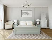 Интерьер спальни наполнен теплом и светом