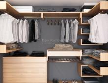 Дизайн-проект гардеробной комнаты с применением натурального дерева в отделке