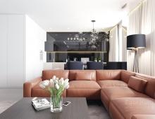Интерьер кухни-гостиной апартаментов в ЖК Чайковский