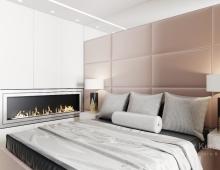 Дизайн интерьера спальни спроектирован в стиле New Luxury, что  соответсвует общей стилистической концепции интерьера апартаментов